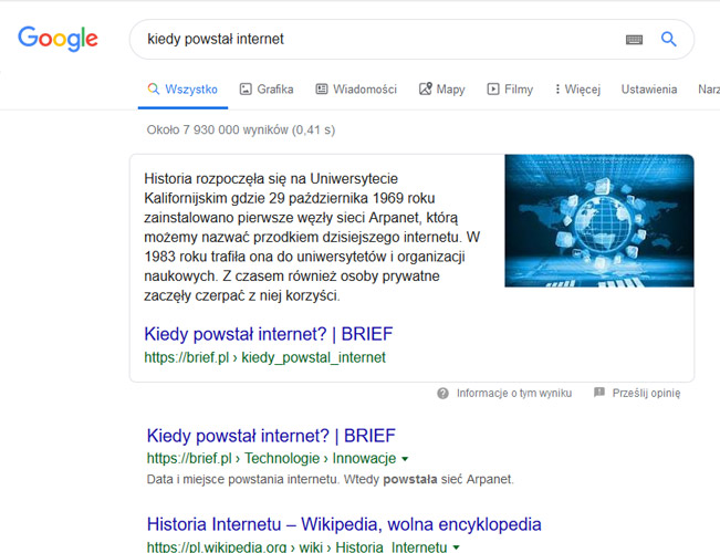 Pozycja zero w Google