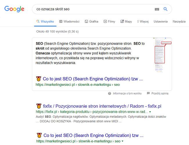 Pozycja zero w Google featured snippets